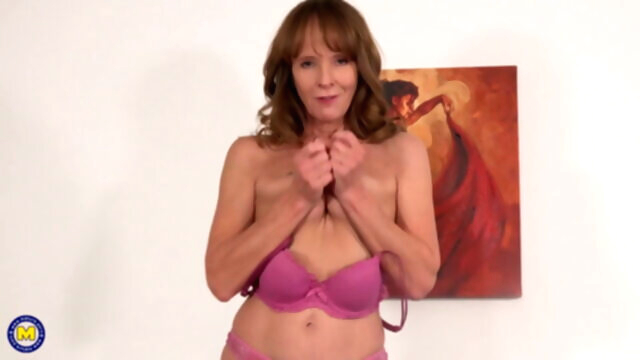 Fit grandmother fucks her old pussy amateur sex toy mature