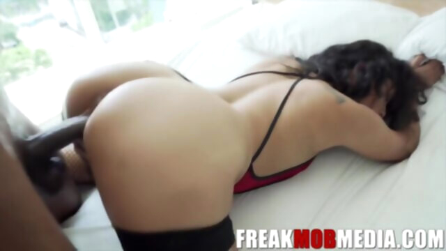 Ebony brunette with curly hair is.. big ass big cock brunette
