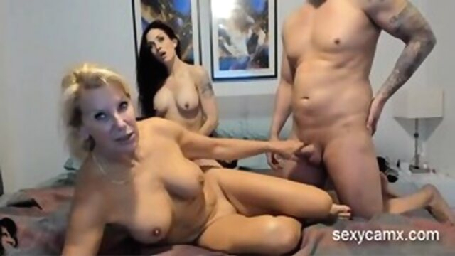 Cum swap strapon threesome with two.. brunette big tits amateur